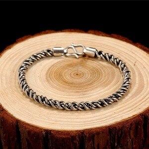 Image 3 - ZABRA Bất Động 925 Sterling Silver Bạc Vòng Đeo Tay Man 5 mét Độ Dày 18 Chiều Dài Punk Rock Vintage Weave Bracelet Mans Đồ Trang Sức