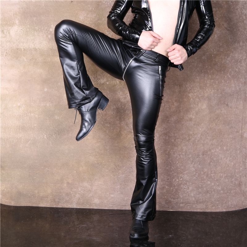 Sexy Men Faux Leather Pu Matte Shiny Fashion Pants Elastic Soft Skinny Gay Pants Zipper Open U Crotch Flare Pants Gay Wear F108 To Prevent And Cure Diseases