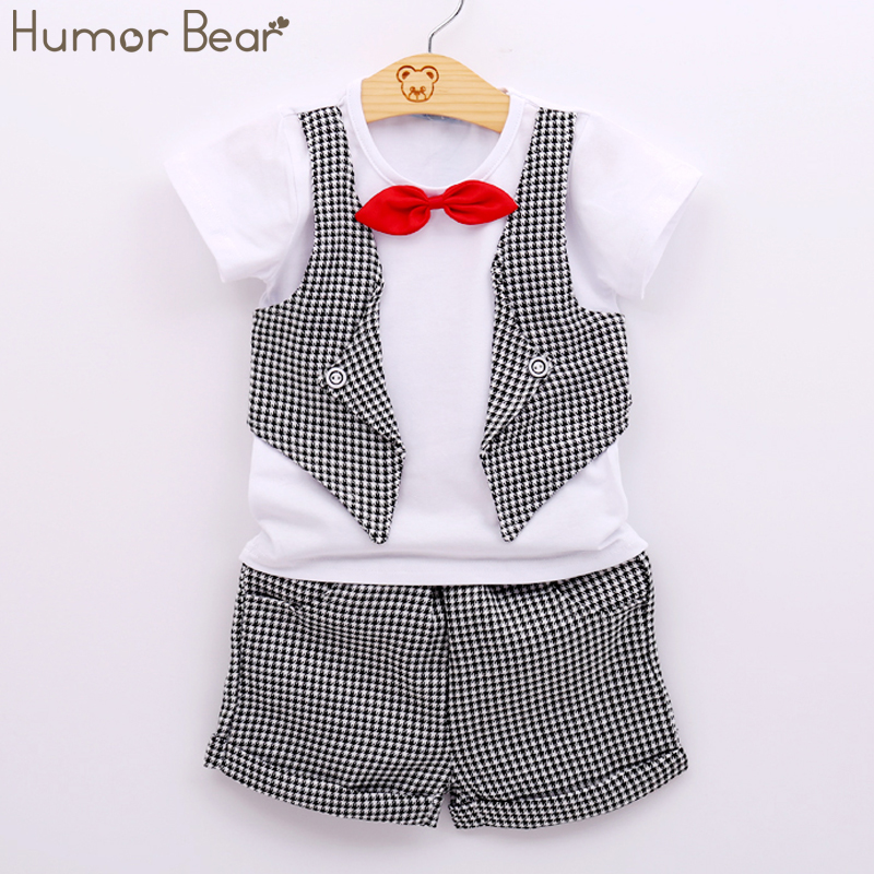 Humor Bear Fashion Fake Two Children Clothing Baby Boys Summer Short-Sleeved Suit Pants 2Pc/ Sets Newborn Clothes
