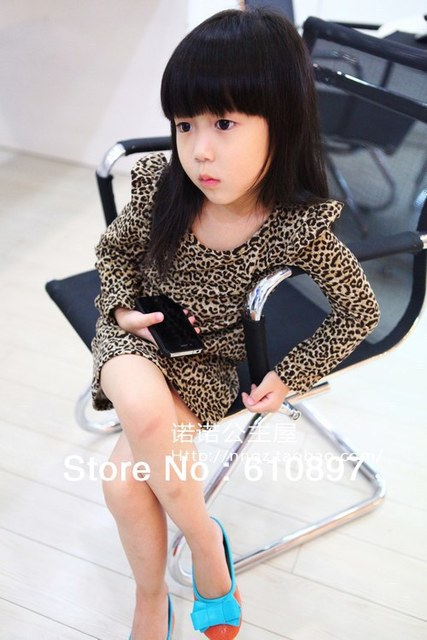Free shipping Wholesale Spring/Autumn children/kid/ Girls Classic Leopard Print Cotton Long Sleeve One-Piece Dresses,5pcs/lot