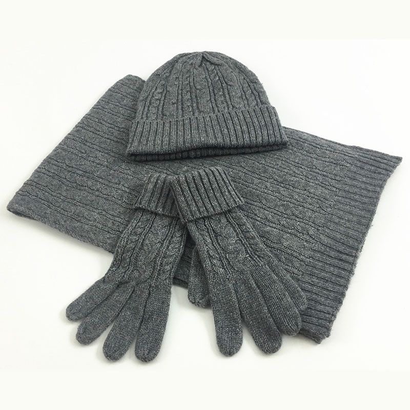 Image 2 - 3 PC Women's Winter Knitted  Hat Cap Hat Scarf Glove Sets Fashion Twist Stripes Cap Gorros Bonnet Wool Hand knitting Scarf-in Women's Scarf Sets from Apparel Accessories