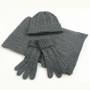 Image 2 - 3 PC Womens Winter Knitted  Hat Cap Hat Scarf Glove Sets Fashion Twist Stripes Cap Gorros Bonnet Wool Hand knitting Scarf