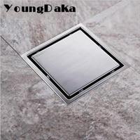 11cm 15cm Modern Stainless Steel Bathroom Tile Invisible Shower Square Floor Drain Cover Hair Shower Catcher