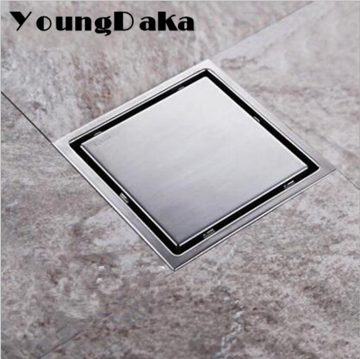 11cm/15cm Modern Stainless steel Bathroom Tile Invisible Shower Square Floor Drain Cover Hair Shower Catcher Clean Strainer
