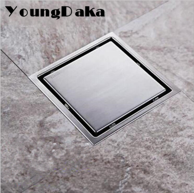11cm 15cm Modern Stainless Steel Bathroom Tile Invisible Shower Square Floor Drain Cover Hair Shower