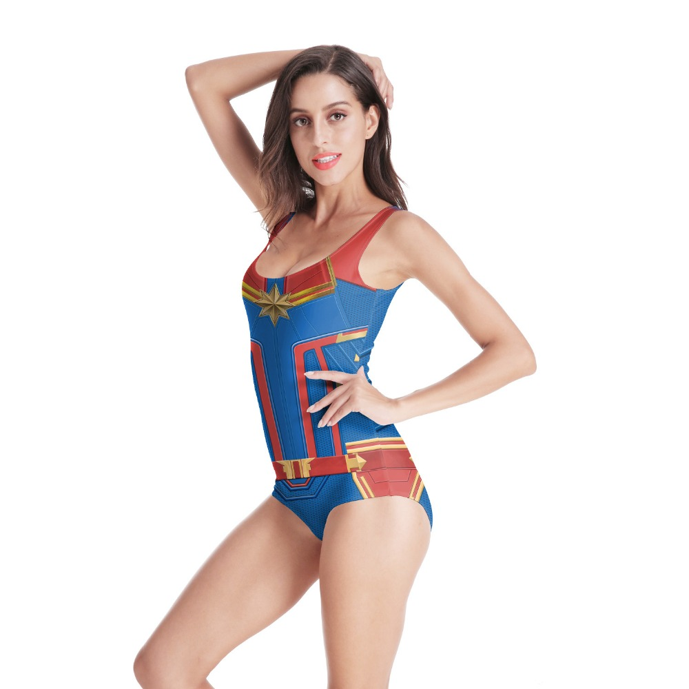 2019 New Sleeveless Swim Suit Sexy Cosplay 3D Captain Marvel Beach Style Suit Printed Girl Swimsuit One Piece Swimwear For Women