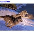 GATYZTORY рамка два волка DIY живопись по номерам животных Современная Настенная живопись холст акриловая краска по номерам для домашнего декора