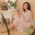Long Sleeve Long Nightgown Spring Autumn Cotton Blends Square Collar Floral Vintage Nightgowns Sleepwear