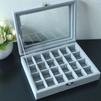 Gray Velvet Jewelry Display Case Rings Storage Box Organizer Tray Box With Glass Lid For Earring