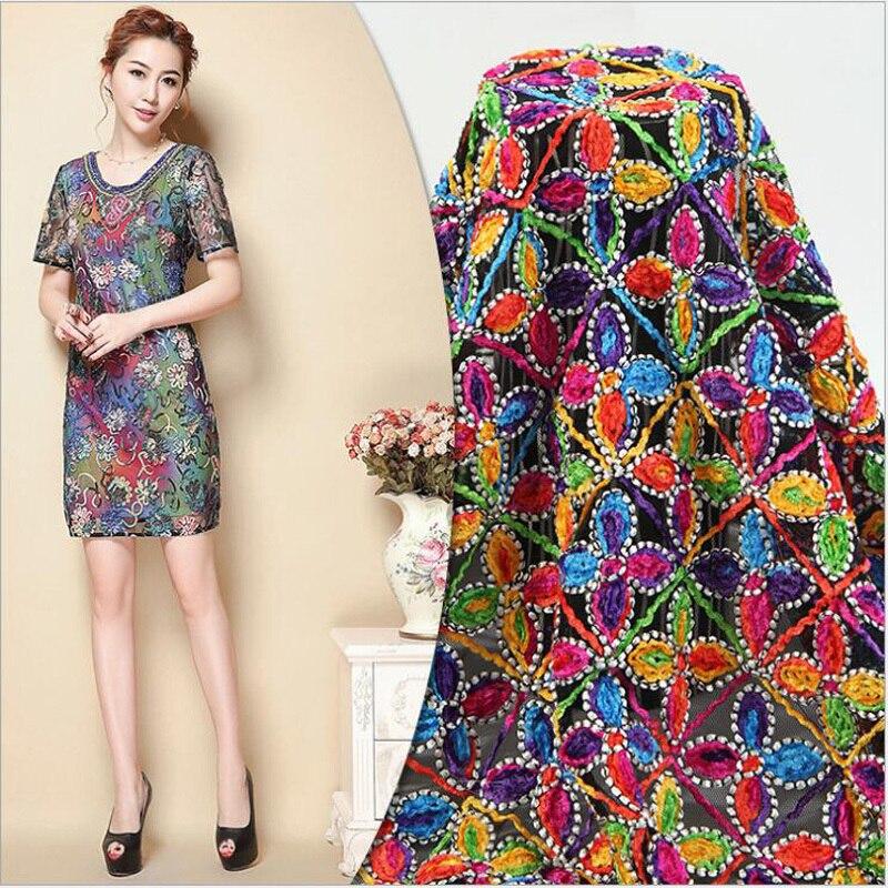 Цвета геометрическая фигура Сетчатое вышитое кружево ткань для красивого платья африканская ткань с DIY одежды Tissu Pour Habillement