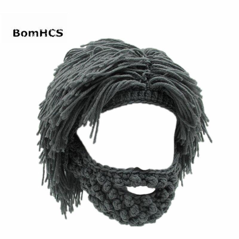 53d57ae7115 BomHCS Funny Party Mask Beanies Wig Beard Hats Hobo Mad Handmade Knit Warm  Winter Caps Halloween Gift