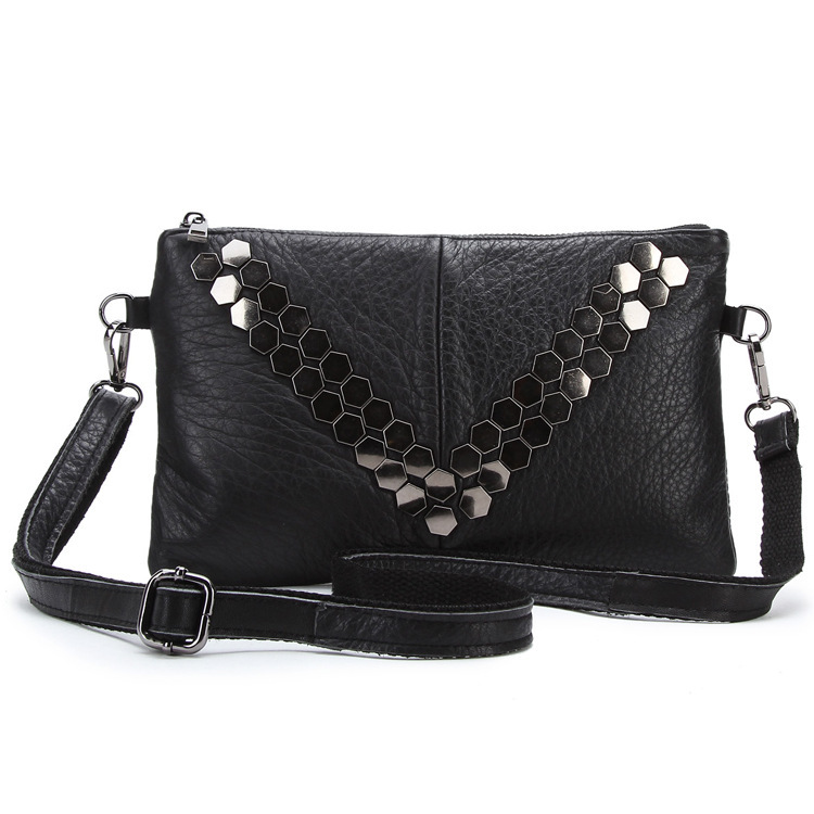 Small Women Shoulder Rivets Female Black Messenger Bags Vintage Lady Real Cow Leather Crossbody Casual Day Clutch Girls Handbag 2016 women fashion brand leather bag female drawstring bucket shoulder crossbody handbag lady messenger bags clutch dollar price