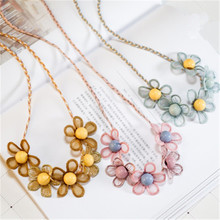 Korean Handmade Cute Cartoon Fabric Wreath Flower Leaf Princess Kids Children Girl Necklace Apparel Accessories-HZPRCGNL065F