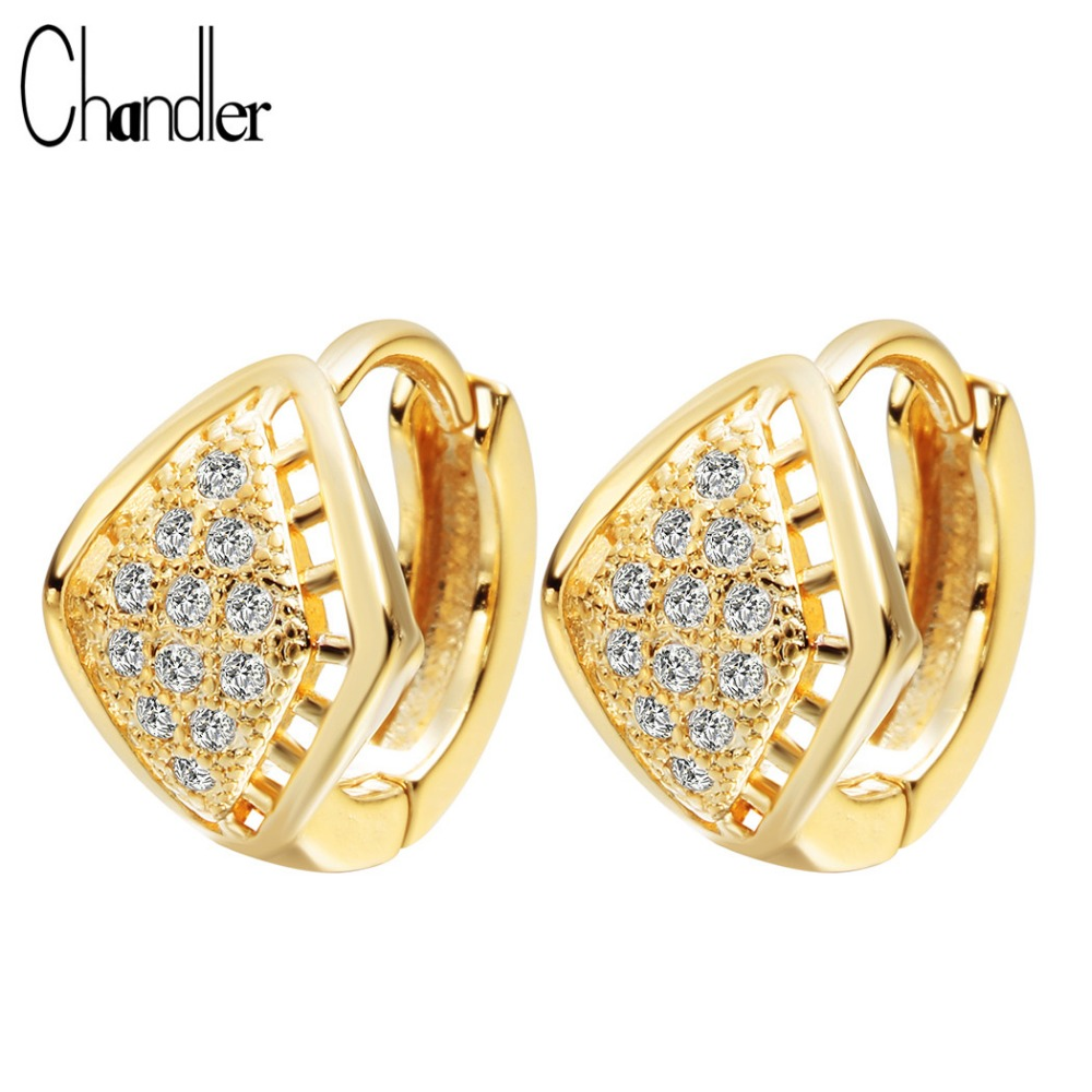 Chandler Fashion Earring Gold Color Plated Synthetic CZ Eyes Hoop Earring Square Jewelry High Quality Engagement Gift Accessary