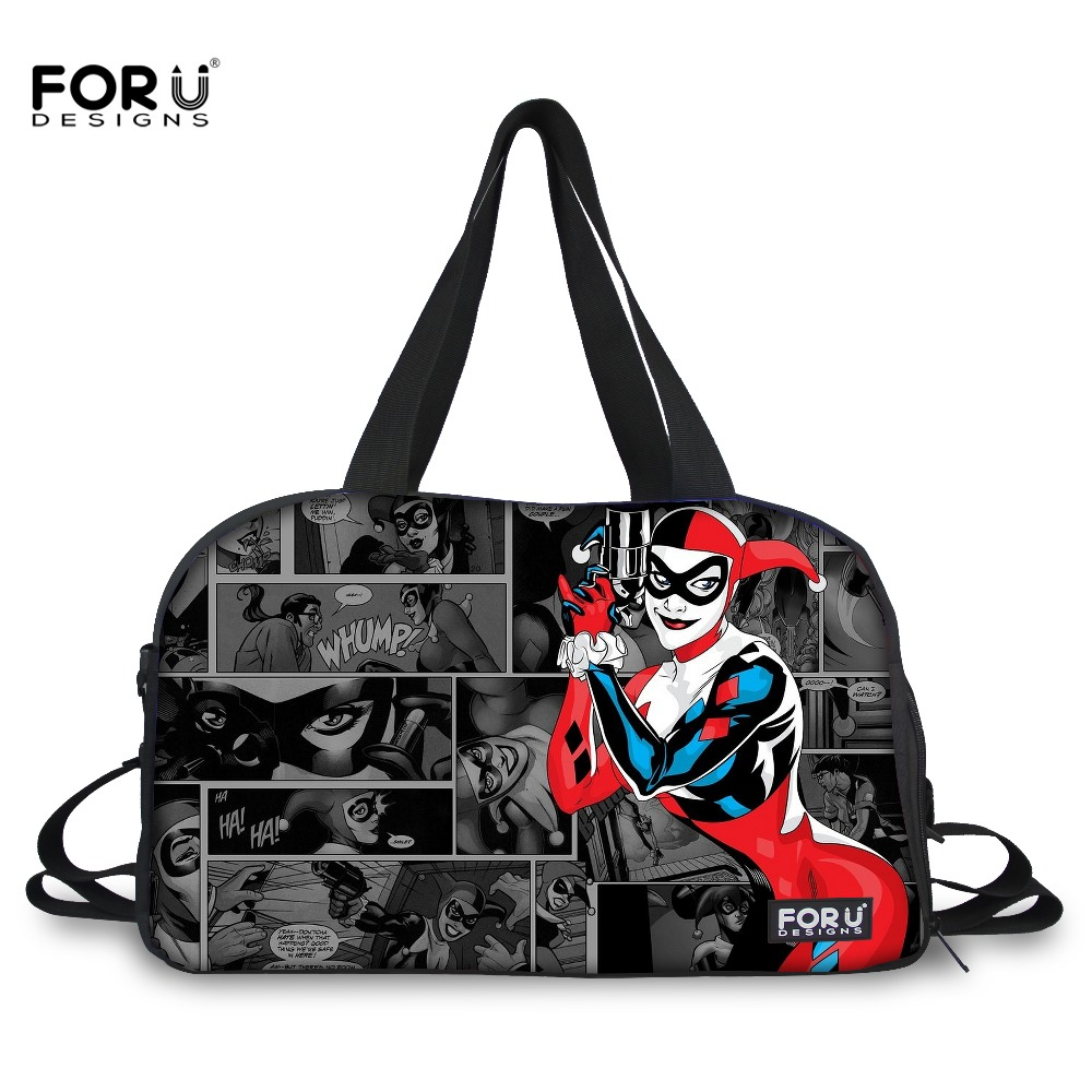 FORUDESIGNS Fashion Women Large Travel Luggage Tote Bag Funny Joker And Harley Quinn Print Duffle Bags For Ladies Handbag In From