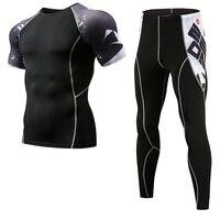 Для мужчин спорт быстросохнущая наборы для ухода за кожей 3D принт сжатия костюмы майки База слои Crossfit фитнес бренд ММА Спортивная
