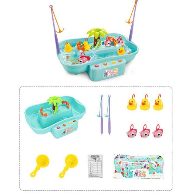 Water Rotating Fishing Toy With Music And Light Duck Fishing Games Electric Fish Toy For Children Kids Girl Boys Toys GiftsLearning & Education