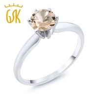0 60 Ct Round Peach Morganite 14K White Gold Ring