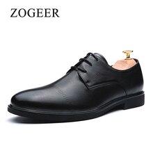 ZOGEER Genuine Leather Men Shoes, Vintage Official Business Formal Dress Shoes Mens Oxfords, Black Italian Men's Leather Shoes