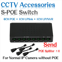 6 Ports POE Switch 2 Ports DC Desktop Fast Ethernet Switch Network IP Cameras Powered POE