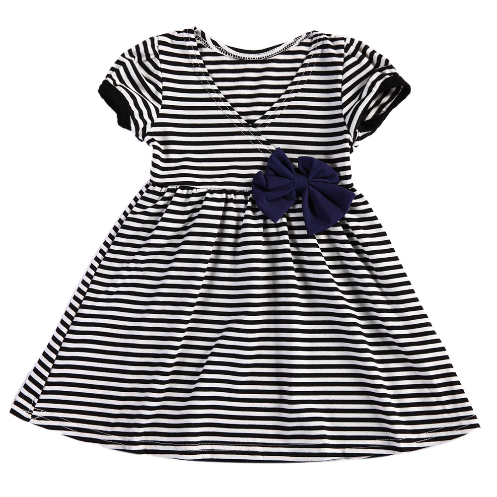 Summer Child Kids Girls Clothing Striped Bow Dress Sleeveless Princess Party Dress Fashion Baby Girl Dresses High Quality summer girls sleeveless princess orange sundress kids fashion lotus leaf waist party prom child dress for children clothing