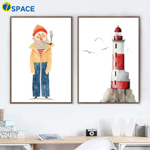 7-Space Nordic Wall Art Canvas Painting Decorative Pictures Cartoon Posters And Prints On For Living Room