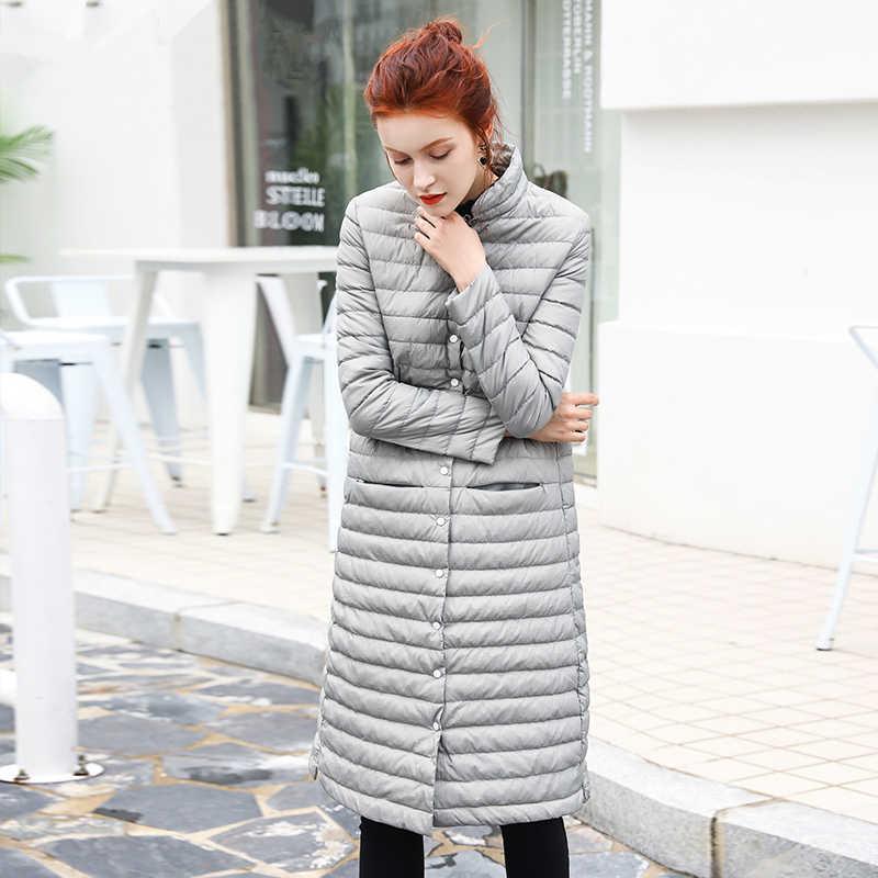 Зимние Для женщин Куртка–пуховик на 90% белом утином пуху плюс Размеры стенд воротник ультра легкое пальто Новинка; для женщин Водонепроницаемый теплые длинные пуховое пальто