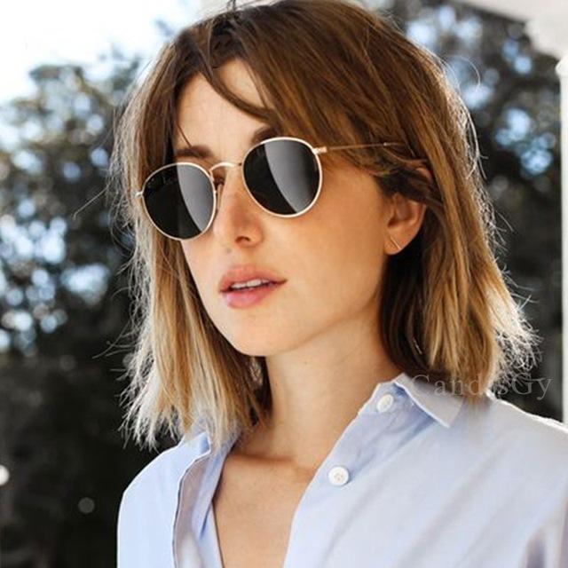 AiC 2018 Sun glasses sunglasses women Round Sunglasses Silver Gold Frame Sunnies Luxury Brand Designer Vintage Cute Style