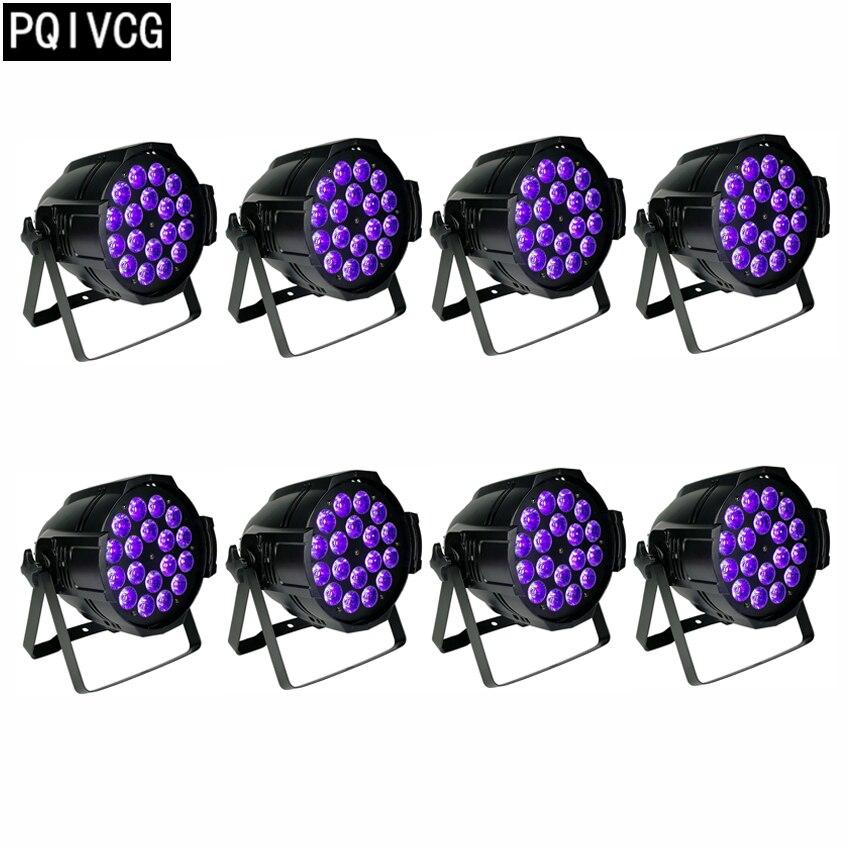 8pcs/ 18x18w 6in1 led par lights dmx led rgbwa uv 6in1 flat par light disco light pro svet light psl led uv 18 dmx
