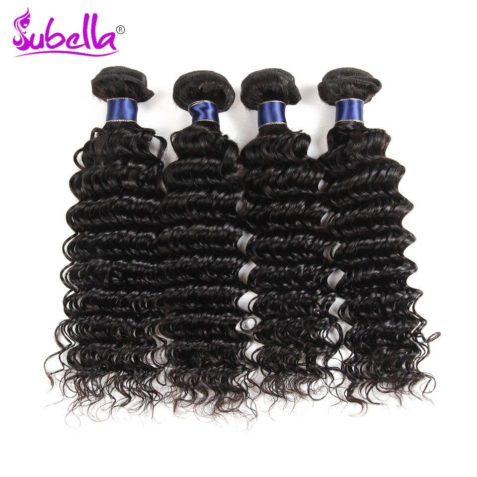 Subella Hair Peruvian Hair Deep Wave Hair 4 Bundles Hair Weave Extensions Weaving No Dyed