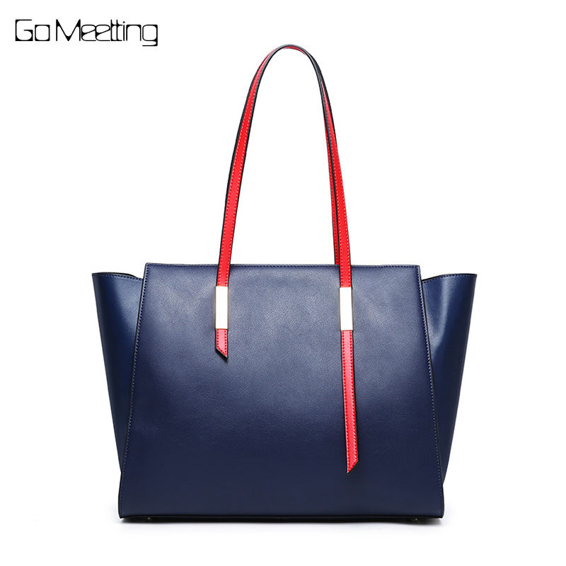 Go Meetting Large Capacity Ladies Handbags Women Genuine Leather Bags Totes Shoulder Bags High Quality Designer Luxury Brand Bag reprcla brand designer handbags women composite bag large capacity shoulder bags casual ladies tote high quality pu leather