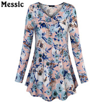 Messic Casual Loose Wrapped V Neck T Shirt Women 2017 Autumn Winter Ruched Long Tee Shirt