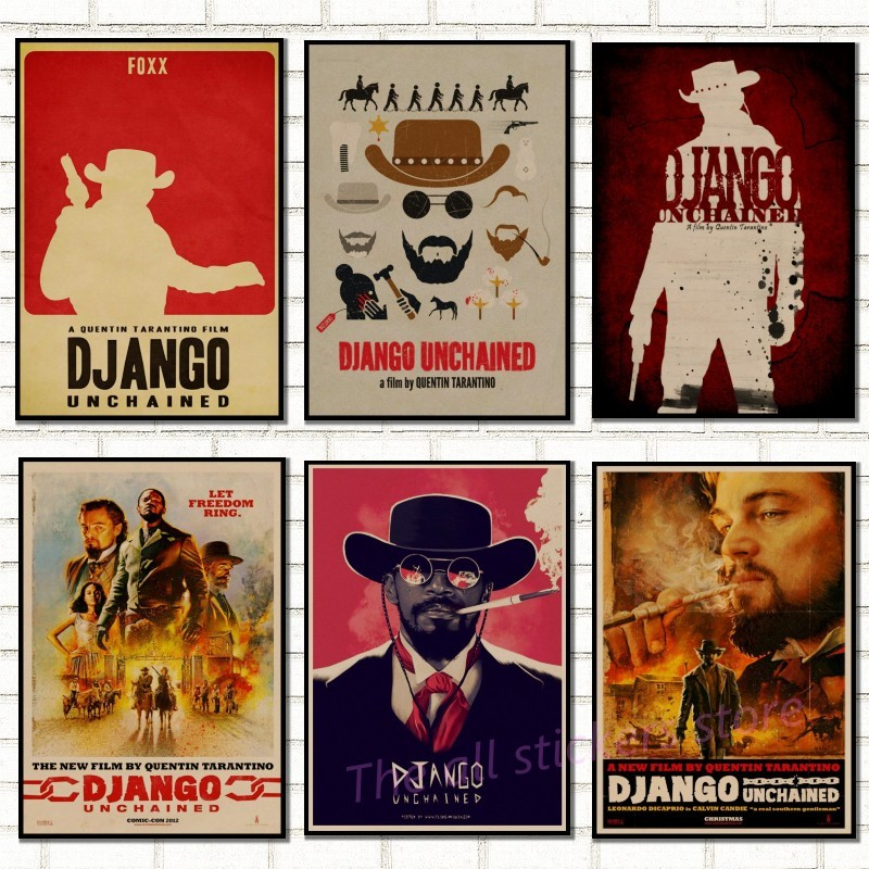 Classic movie. Django Unchained Quentin Tarantino retro Poster Retro Kraft Paper Bar Cafe Home Decor Painting Wall Sticker/5052