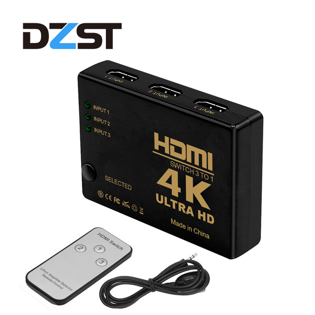 DZLST 4K HDMI Switcher With Remote Controller Hub Repeater IR Extender Receiver 3 In To 1 Out For HDTV HD DVD