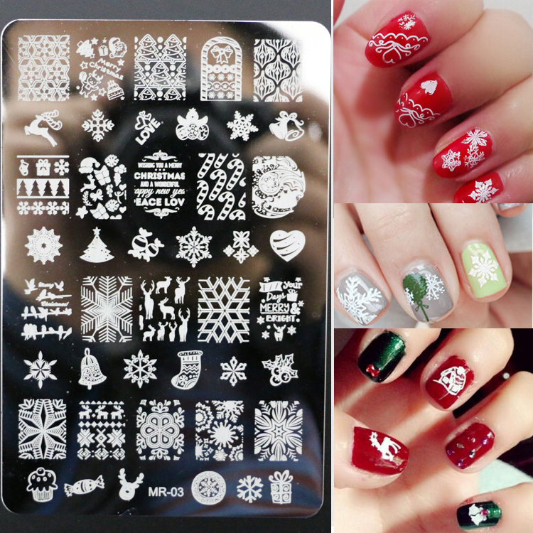 New Christmas Decorations Konad Nail Stamping Image Plates 9.5*14.5CM Stamp Template Nail Arts Design stamper Plates MR03