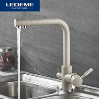 LEDEME Kitchen Faucet Dual Spout Drinking Water Filter Dot Brass Purifier Faucet Vessel Sink Mixer Tap