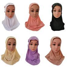 Muslim Kids Girls Flower Hot Drilling Hijab Hats Child Islamic Headscarf Caps Islamic Turban Full Cover Banadanas Casual Fashion