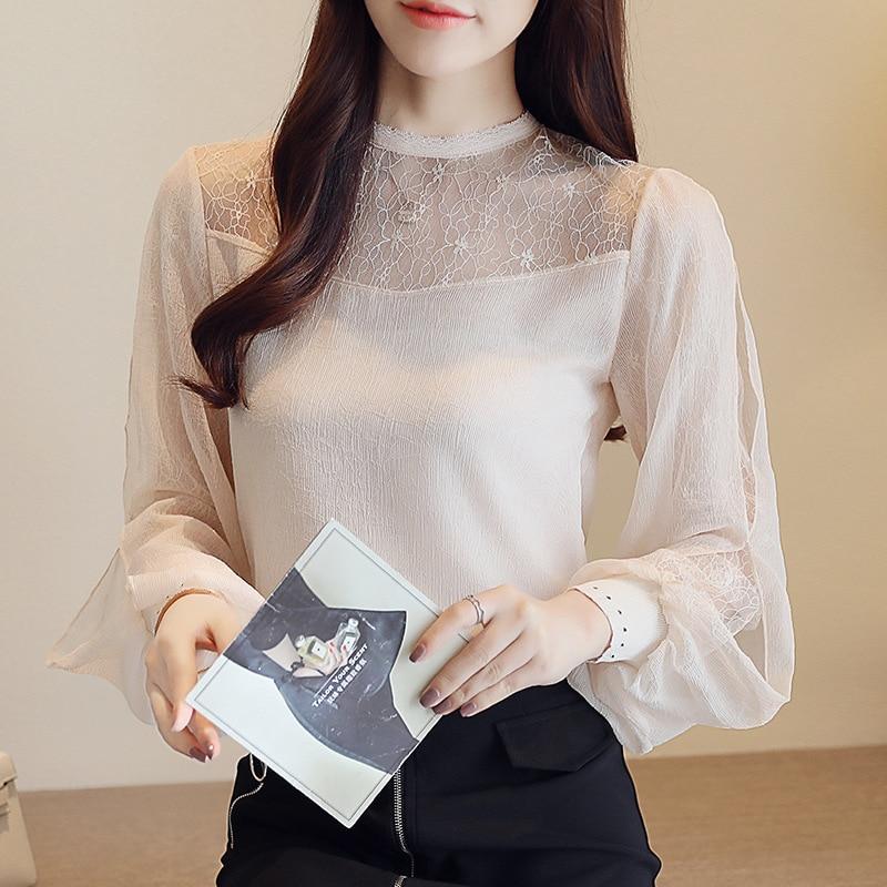 Sexis Manga De Alto Larga Ahuecadas Gasa Blusa Cuello Elegantes Con Encaje Coreanas Linterna Beige Camisas Mujer Blusas Para wzqtanB5