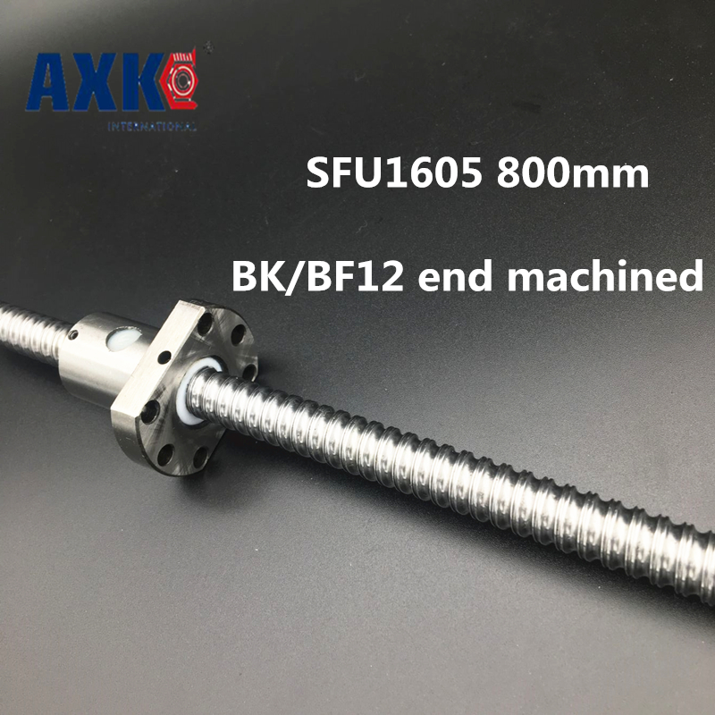 2018 New Linear Rail Axk Cnc Router Parts Sfu1605 800mm Rm1605 Rolled Ball Screw 1pc+1pc Ballnut + End Machining For Bk/bf12 2018 sale cnc router parts axk linear rail sfu1605 600mm rm1605 rolled ball screw 1pc 1pc nut for linear guide