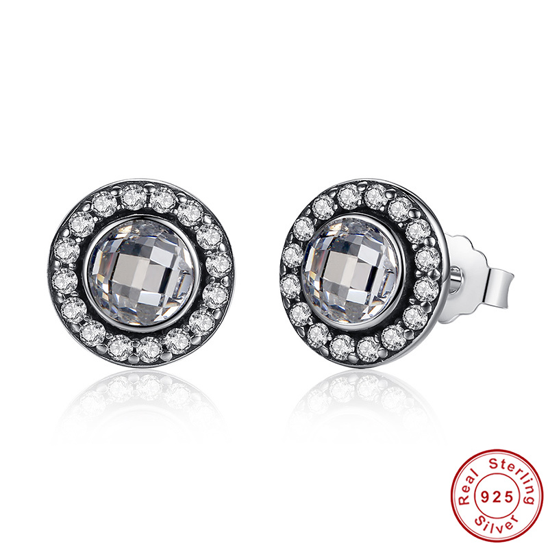 New Arrival 925 Sterling Silver Brilliant Legacy Stud Earrings With Pink CZ For Women Original Jewelry Love Gift
