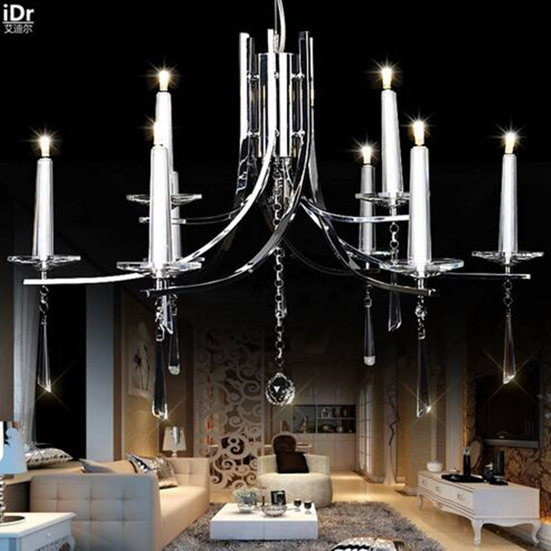 Europe living room minimalist LED crystal art wrought iron candle lamp restaurant bedroom villa Chandeliers Luxury lamp free shipping candle lamp wrought iron restaurant bedroom chandeliers rural white candle wrought iron pendant led lights