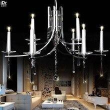 Европа гостиная минималистский СВЕТОДИОД кристалл искусства из кованого железа свеча лампа ресторан спальня вилла Роскошные Люстры лампы