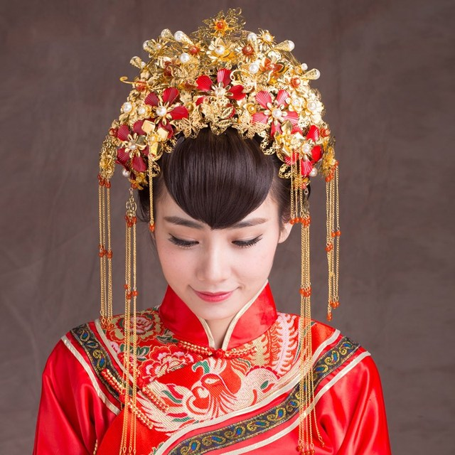 vintage chinese style classical jewelry traditional bridal headdress