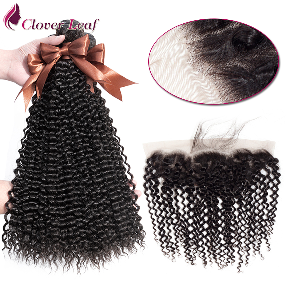 Clover Leaf Remy Hair Extension 3 Bundles With Lace Frontal 13*4 Mongolian Human Hair Kinky Curly Hair Extensions Natural