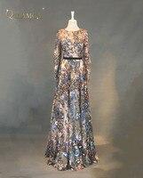 2018 New Fashion Evening Dresses 3D Print Flower Lace Long Sleeves Long Prom Dress Robe de Soiree Custom Made