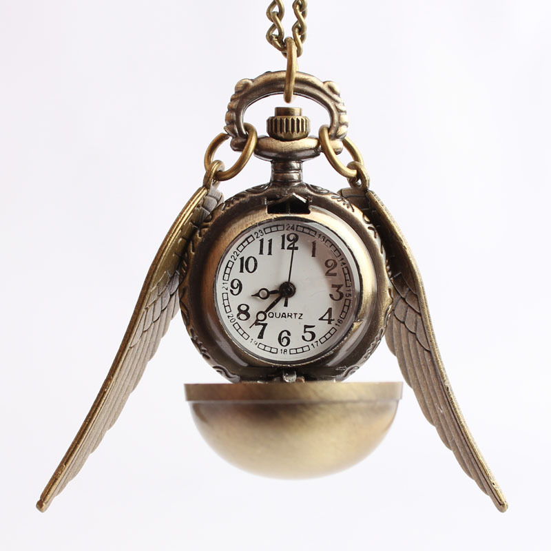 2016 Vintage Quartz Pocket Watch Harry Potter Necklace Chain Pendant Gifts Hogwarts School Mens Watch Golden Girl Women Gift unique harry potter phoenix shape pendant necklace for women