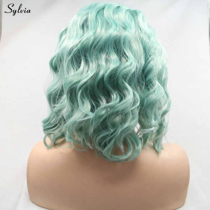 Sylvia парик Bouncy кудрявые короткие волосы детские розовые/пастельные зеленые синтетические парики на кружеве для женщин Косплей Летняя Вечеринка Drag queen
