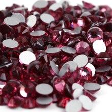 Rose Glass 3D Nail Art Decorations ss3 ss4 ss5 ss6 ss8 ss10 ss12 ss16 ss20 ss30 ss34 Crystal Nails Non HotFix Rhinestones