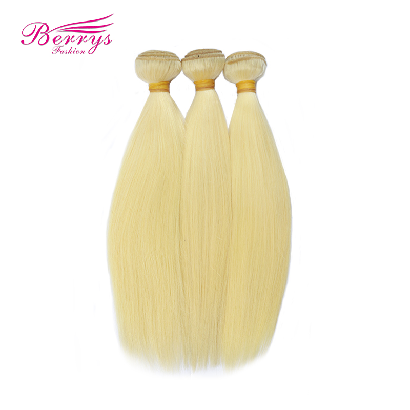 Full Blonde Color Brazilian Straight Human Hair 100 gram PC 3 Bundles Remy Hair Weft Extensions