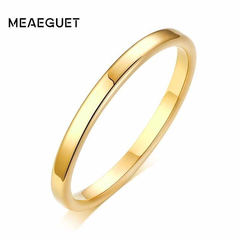 Solid GOLD แบน 2 มม.แหวนผู้หญิงสแตนเลสสตีล Rose Gold และ Silver สีงานแต่งงานเครื่องประดับ